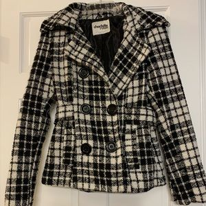 Black and White Patterned Peacoat